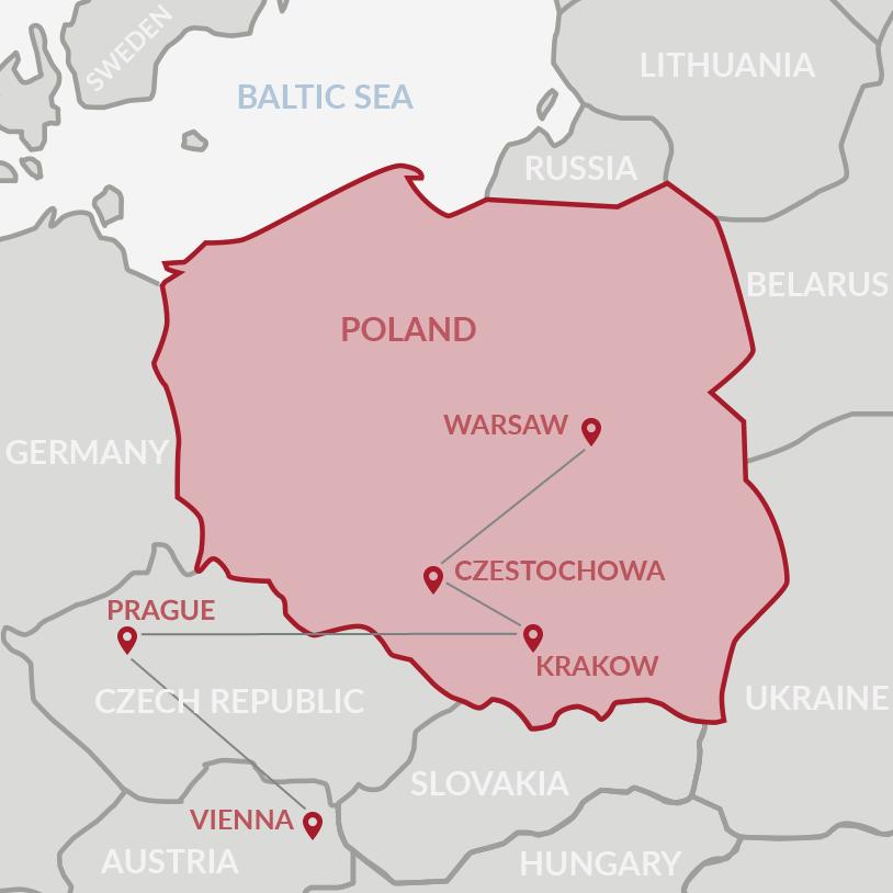 Warsaw - Krakow - Prague - Salzburg - Vienna